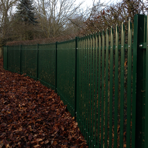 Green Palisade Security Fence Instllation